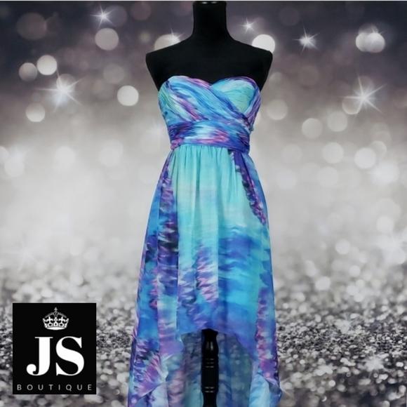 JS Boutique Watercolor High Low Strapless Dress